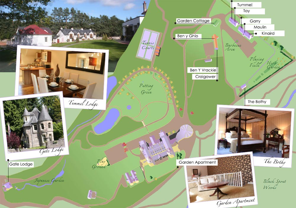 Location layout of Pitlochry self catering lodges